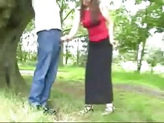 Handjob Tied To A Tree - Cfnm