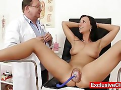 Hot babe Nikki pussy pumped during gyno exam