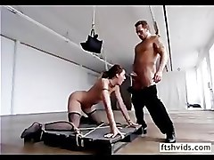 Hottie hanged and tied tight fucked hard doggy style