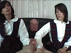 schoolgirls stroke old man cock