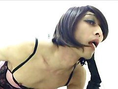 kinky crossdresser whore cum in public toilet
