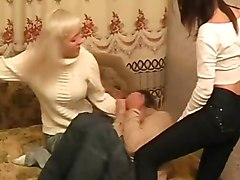 2 russian femdoms make him to fuck