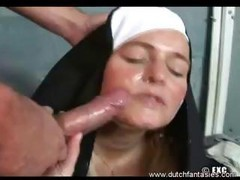 This Nun Brings In A Dude Sleeping On A Bench And Sucks His Dick