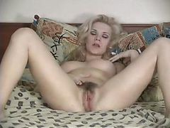 Blond Hairy Women Masturbates