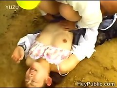 perv carries a sleeping japanese scholgirl in his trunk
