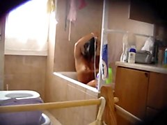 sexy black amateur caught taking a shower on hidden cam