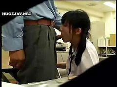 Japanese Office Girl Has To Get On Her Knees To Suck Her Boss' Cock