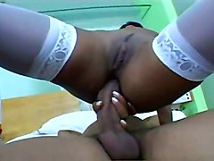 Brazilian Latina In White Stockings