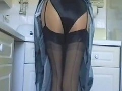 Kitchen In Black Satin Lingerie