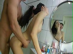 Young Couple In Bathroom Action